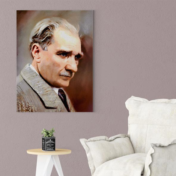 Atatürk Temalı Kanvas Tablo - D007