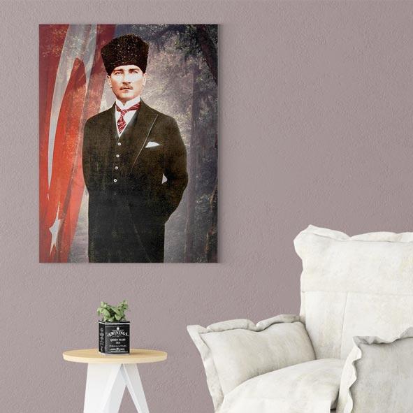 Atatürk Temalı Kanvas Tablo - D008