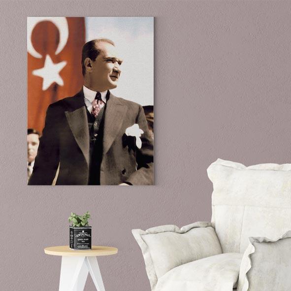 Atatürk Temalı Kanvas Tablo - D014