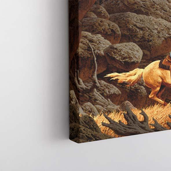Kovboy Çizim Temalı Kanvas Tablo -Y026